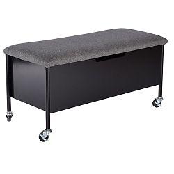 Černá lavice s úložným prostorem na kolečkách RGE Sture