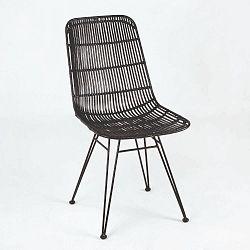 Černá proutěná židle Thai Natura, výška 88cm