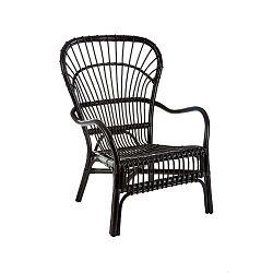 Černá relaxační židle z ratanu Premier Housewares Havana