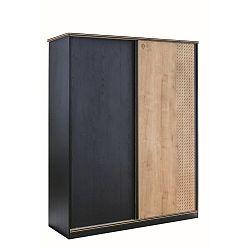 Černá šatní skříň s dveřmi v přírodní barvě Black Sliding Wardrobe