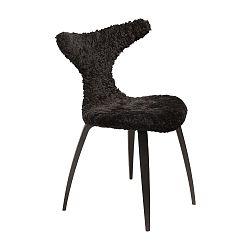 Černá židle s kožešinovým sedákem DAN-FORM Denmark Dolphine