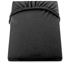 Černé  prostěradlo DecoKing Amber Collection, 200-220 x 200 cm