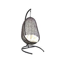 Černé závěsné křeslo z umělého ratanu Santiago Pons