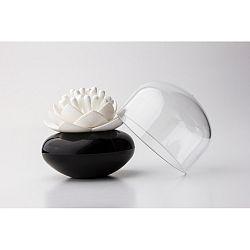 Černo-bílý stojánek na vatové tyčinky Qualy Lotus Cotton Bud