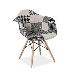 Černobílá jídelní židle s dřevěnýma nohama Signal Denis Patchwork