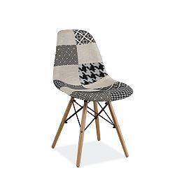 Černobílá polstrovaná jídelní židle Signal Simon Patchwork