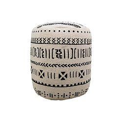 Černobílý bavlněný puf HSM collection Garro, 35 x 42 cm