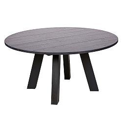 Černý jídelní stůl z dubového dřeva De Eekhoorn Rhonda, Ø150cm