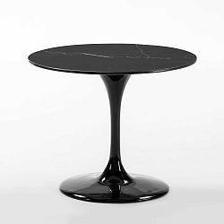 Černý jídelní stůl z mramoru a skelných vláken Thai Natura, ⌀ 90 cm