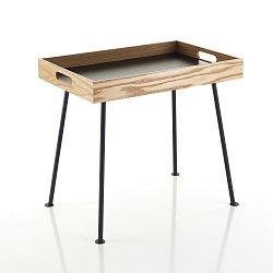 Černý konferenční stolek s dřevěným podnosem Tomasucci Amgrogio