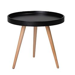 Černý konferenční stolek s nohami z bukového dřeva Knuds Opus, Ø50cm