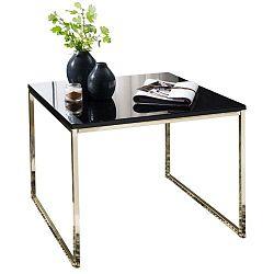 Černý konferenční stůl s nohami ve zlaté barvě Skyport Riva, 60 x 60 cm
