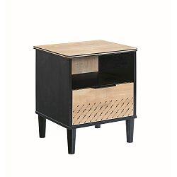 Černý noční stolek s detaily v přírodní barvě Black Nightstand