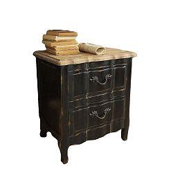 Černý noční stolek ze dřeva zimního dubu Orchidea Milano New Vintage