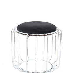 Černý odkládací stolek / puf s konstrukcí ve stříbrné barvě 360 Living Canny, ⌀ 50 cm