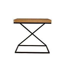 Černý odkládací stolek s deskou z dubového dřeva Take Me HOME, 50x30cm