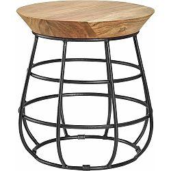 Černý odkládací stolek s dřevěnou deskou Støraa Nadia