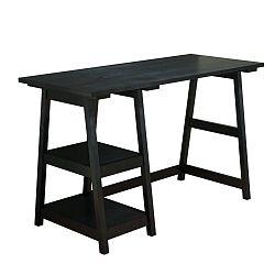 Černý pracovní stůl z borovicového masivu Perla