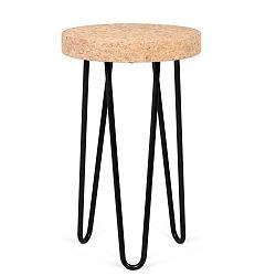 Černý příruční stolek s deskou z korku TemaHome Drum