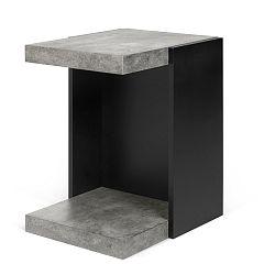 Černý příruční stolek s detaily v dekoru betonu TemaHome Klaus