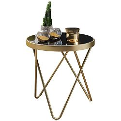 Černý příruční stolek s nohami ve zlaté barvě Skyport Dana, ⌀ 42 cm