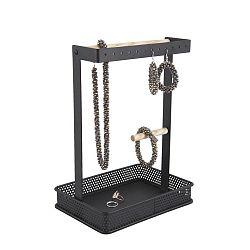 Černý stojánek na šperky s dřevěnými detaily PT LIVING Merge Square
