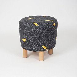 Černý taburet s dřevěnými nohami Cono Canarito, ⌀41cm
