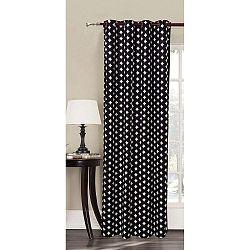 Černý závěs s bílými vzory z mikrovlákna DecoKing Harmony, 140x245cm