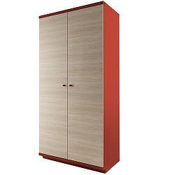 Červená dvoudveřová šatní skříň z masivního dubového dřeva JELÍNEK Amanta