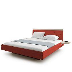 Červená dvoulůžková postel z masivního dubového dřeva JELÍNEK Amanta, 180x200cm