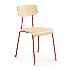 Červená jídelní židle s přírodním sedákem La Forma Klee