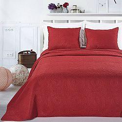Červený set povlaku na polštáře a přehozu z mikrovlákna DecoKing Elodie, 220x240cm
