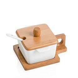 Čtvercová miska s podnosem, víčkem a lžičkou Brandani Petite