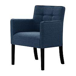 Denimově modrá židle s černými nohami Ted Lapidus Maison Freesia