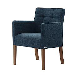 Denimově modrá židle s tmavě hnědými nohami Ted Lapidus Maison Freesia