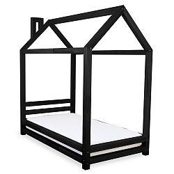 Dětská černá postel z smrkového dřeva Benlemi Happy,90x160cm