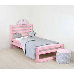 Dětská růžová dřevěná jednolůžková postel Benlemi DeLuxe, 160x80cm