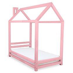 Dětská růžová postel z smrkového dřeva Benlemi Happy,80x160cm