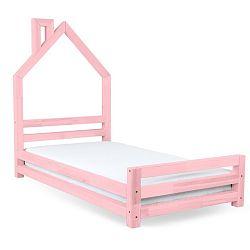 Dětská růžová postel z smrkového dřeva Benlemi Wally,90x180cm