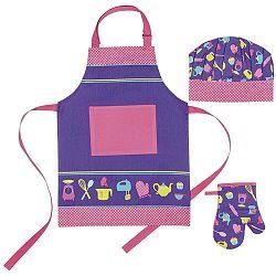 Dětská sada zástěry, čepice a kuchyňské rukavice Ladelle I Love Baking