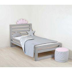 Dětská šedá dřevěná jednolůžková postel Benlemi DeLuxe, 160x120cm