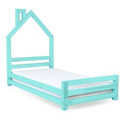 Dětská tyrkysová postel z smrkového dřeva Benlemi Wally,90x180cm