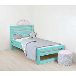 Dětská tyrkysově modrá dřevěná jednolůžková postel Benlemi DeLuxe, 160x80cm
