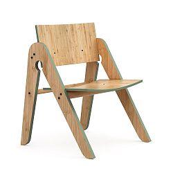 Dětská židle z bambusu Moso se zelenými detaily We Do Wood Lilly's
