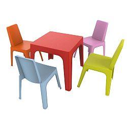Dětský zahradní set 1 červeného stolu a 4 židliček Resol Julieta