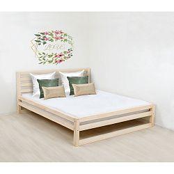 Dřevěná dvoulůžková postel Benlemi DeLuxe Nature, 200x190cm