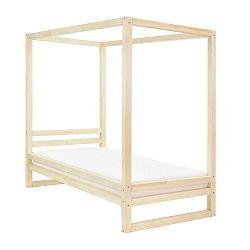 Dřevěná jednolůžková postel Benlemi Baldee Naturaleza, 200x120cm