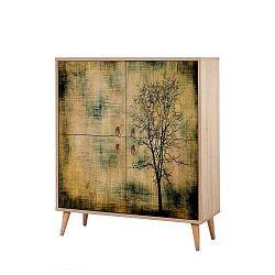 Dřevěná skříň Ananias Tree, výška 111cm