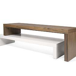 Dvojitý hnědo-bílý konferenční stolek TemaHome Cliff, 125 x 20 cm