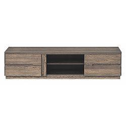 Dvoudveřová TV komoda v dřevěném dekoru kouřového dubu Szynaka Meble Negro